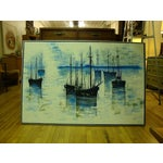 Image of 1970s Large Seascape Ships Oil on Canvas Painting