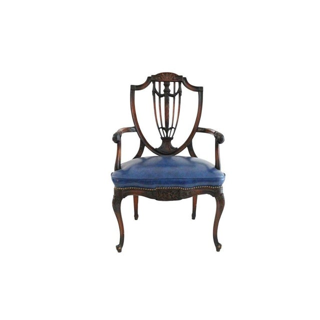 Walnut & Leather French Armchair - Image 1 of 4