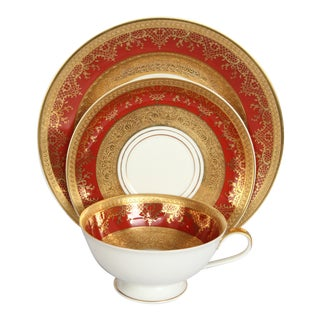 Incredible German Porcelain & Gold Leaf Encrusted Tea Set