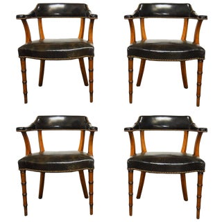 Barnard & Simonds Leather Library Chairs - Set of 4