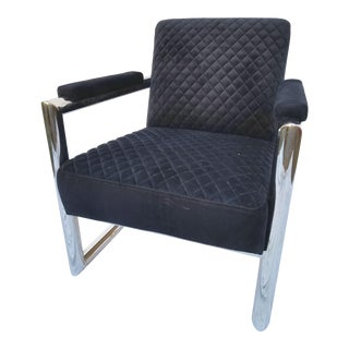 Black Velvet and Stainless Steel Armchair