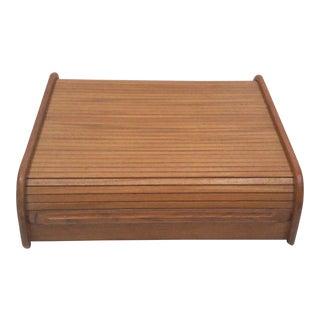 Teak Storage Box with Tambour Door