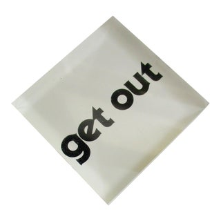 """Pop Art """"Get in Get Out"""" Lucite Paperweight"""