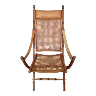 British Colonial Campaign Folding Cane Chair