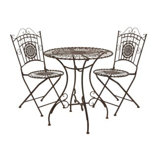 Rustic Metal Garden Table Set - 3 Pieces
