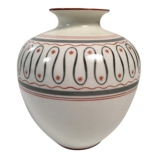 Stylish Gray, Orange and White German Porcelain Vase, circa 1930