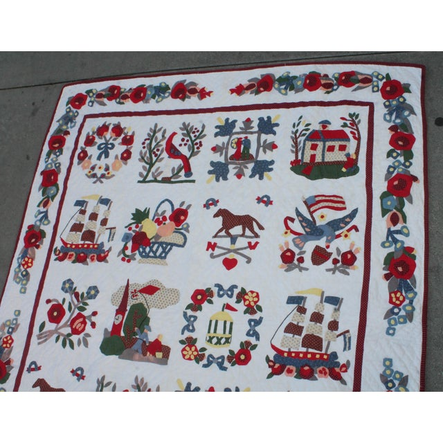 20th Century Hand Made Repro Applique Quilt - Image 4 of 8