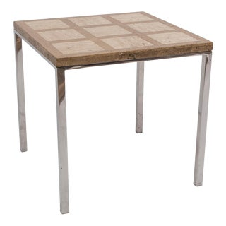 Small Chrome and Travertine Side Table