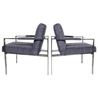 Pair of Milo Baughman Lounge Chairs in Holly Hunt Great Plains