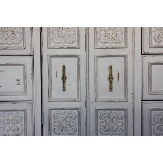 Carved Wood Detailed Gray Dresser - Image 3 of 11