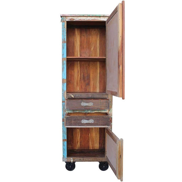 Image of Handmade Reclaimed Wood Cabinet on Wheels