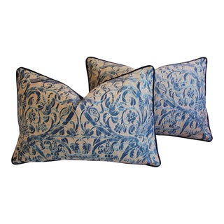 Italian Fortuny Uccelli Down Pillows - A Pair