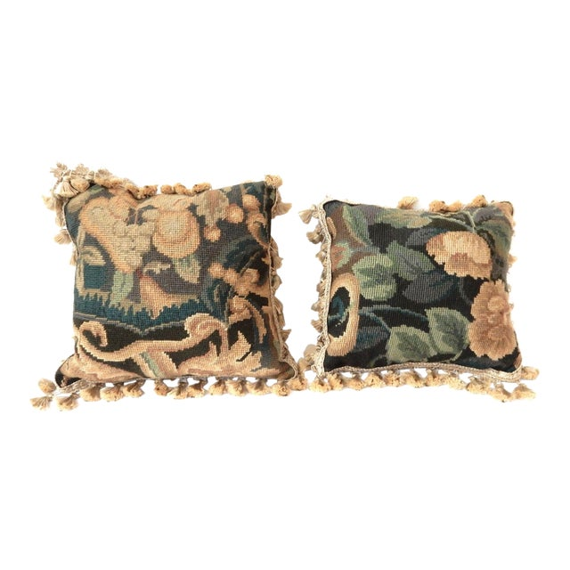 French Square Verdure Petit Point Pillows - a Pair - Image 1 of 8