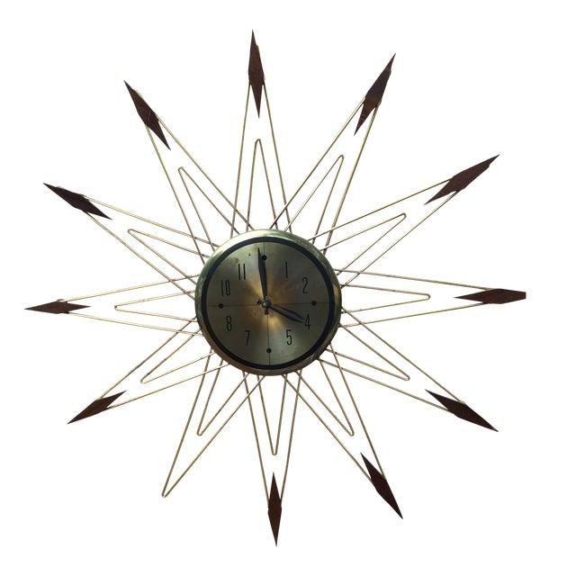 Mid-Century Modern Starburst Metal & Walnut Clock - Image 1 of 5
