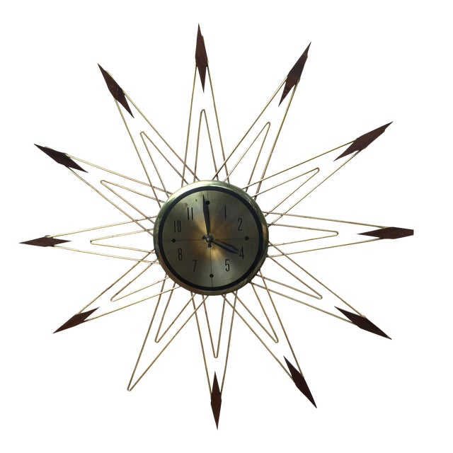 Image of Mid-Century Modern Starburst Metal & Walnut Clock