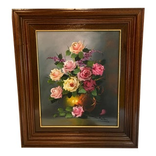 Vintage Still Life of Roses Oil Painting