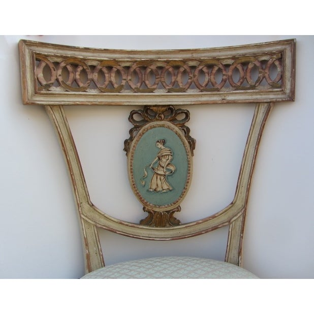 Image of Neoclassical Hand Painted Italian Side Chairs - 2