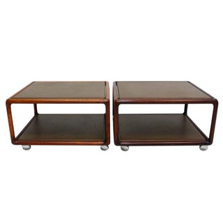 Ward Bennett Leather Tables on Casters - A Pair