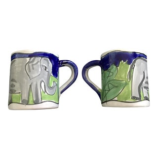 Pair of Hand-Painted Starbucks Mugs Elephant Design