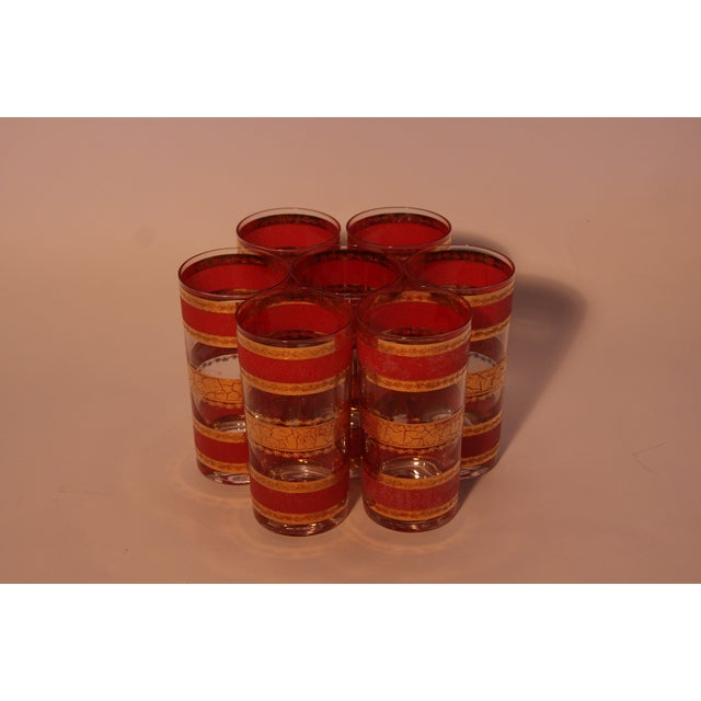 Image of Vintage Red & Gold High Ball Glasses - Set of 7