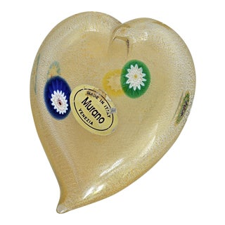 Vintage Italian Murano Glass Heart With Gold Aventurine and Murrines Paperweight Mid Century Modern Venetian