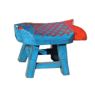 Chinese Blue Red Fish Shape Small Wood Stool