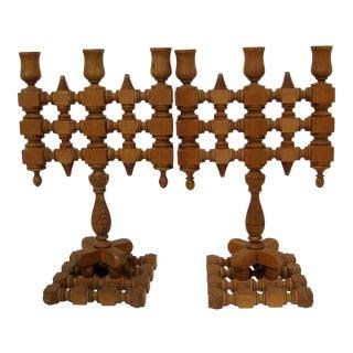 Wood Spindle Candelabra, a Pair