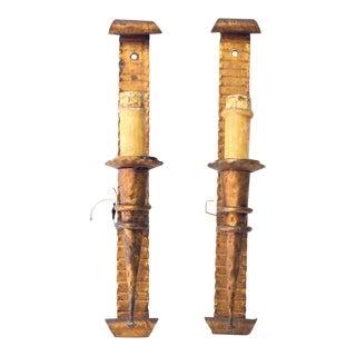 Golden Wall Sconces - A Pair