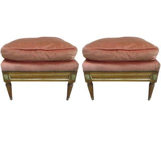 Pair of French Modern Neoclassical Stools / Benches Attributed to Jansen