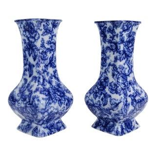 English Blue & White Cavendish Vases - A Pair