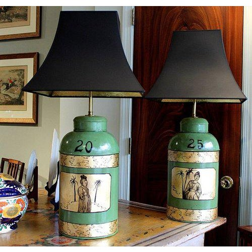 Green & Gilt Decorated Tôle Tea Canister Lamps - A Pair - Image 2 of 8
