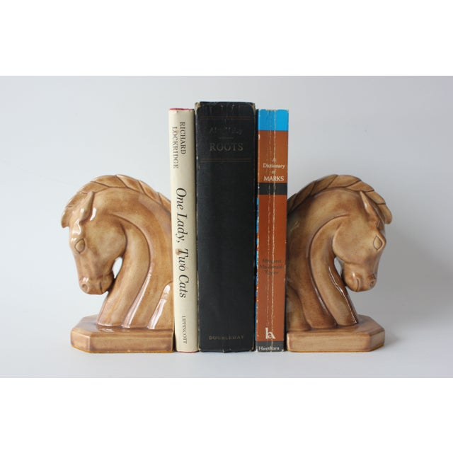 Image of Caramel Ceramic Horse Head Bookends - A Pair