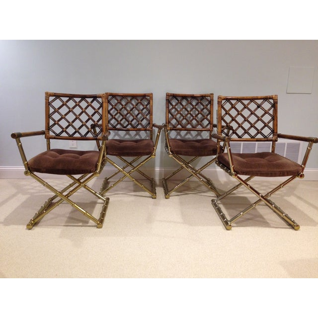 Faux Bamboo Brass & Rattan Chairs - Set of 4 - Image 2 of 6