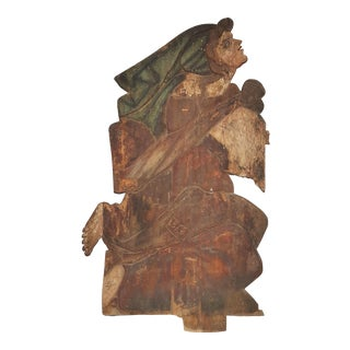 Carved Woman Figure Wall Sculpture