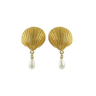 1980's Dominique Aurientis Gold Shell Earrings