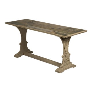 Antique Painted, Carved Oak English Serving Table circa 1870