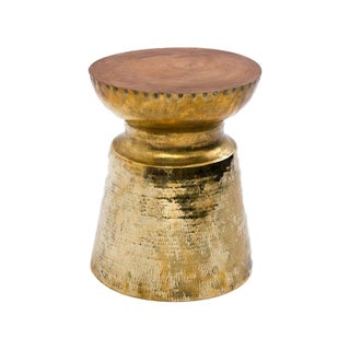 Brass Finished Reclaimed Teak Table Stool