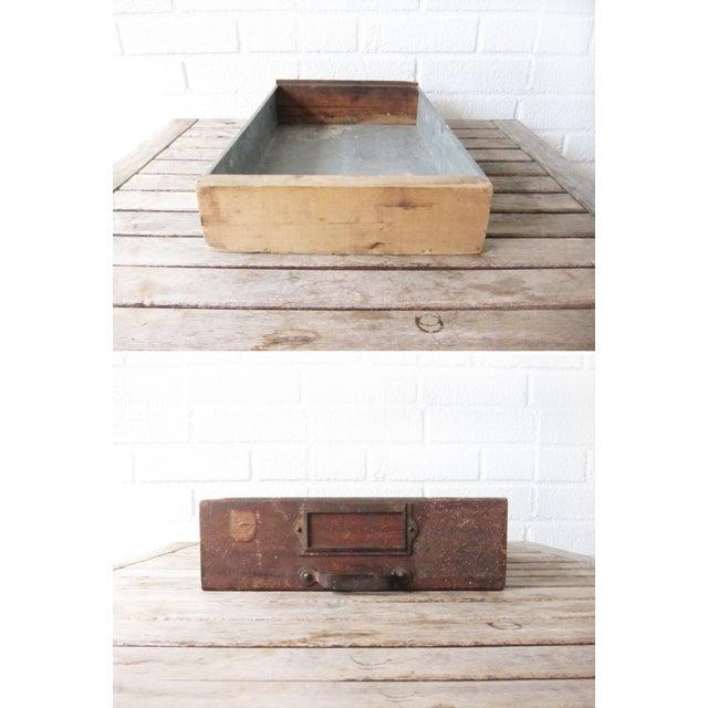 Vintage Rustic Wood & Metal Drawer Box - Image 5 of 6