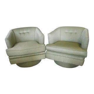 Vintage Milo Baughman Swivel Tub Chairs - a Pair