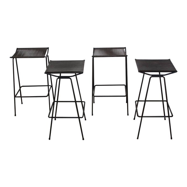 Set of Four Allan Gould Iron and Rope Stools - Image 1 of 10