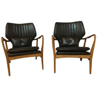 Danish Modern Leather Armchairs - A Pair