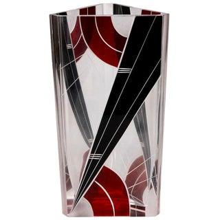 Art Deco Karl Palda Black and Red Glass Triangular Vase