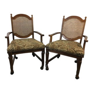 Vintage Carved Maple Cane Back Upholstered Armchairs - A Pair