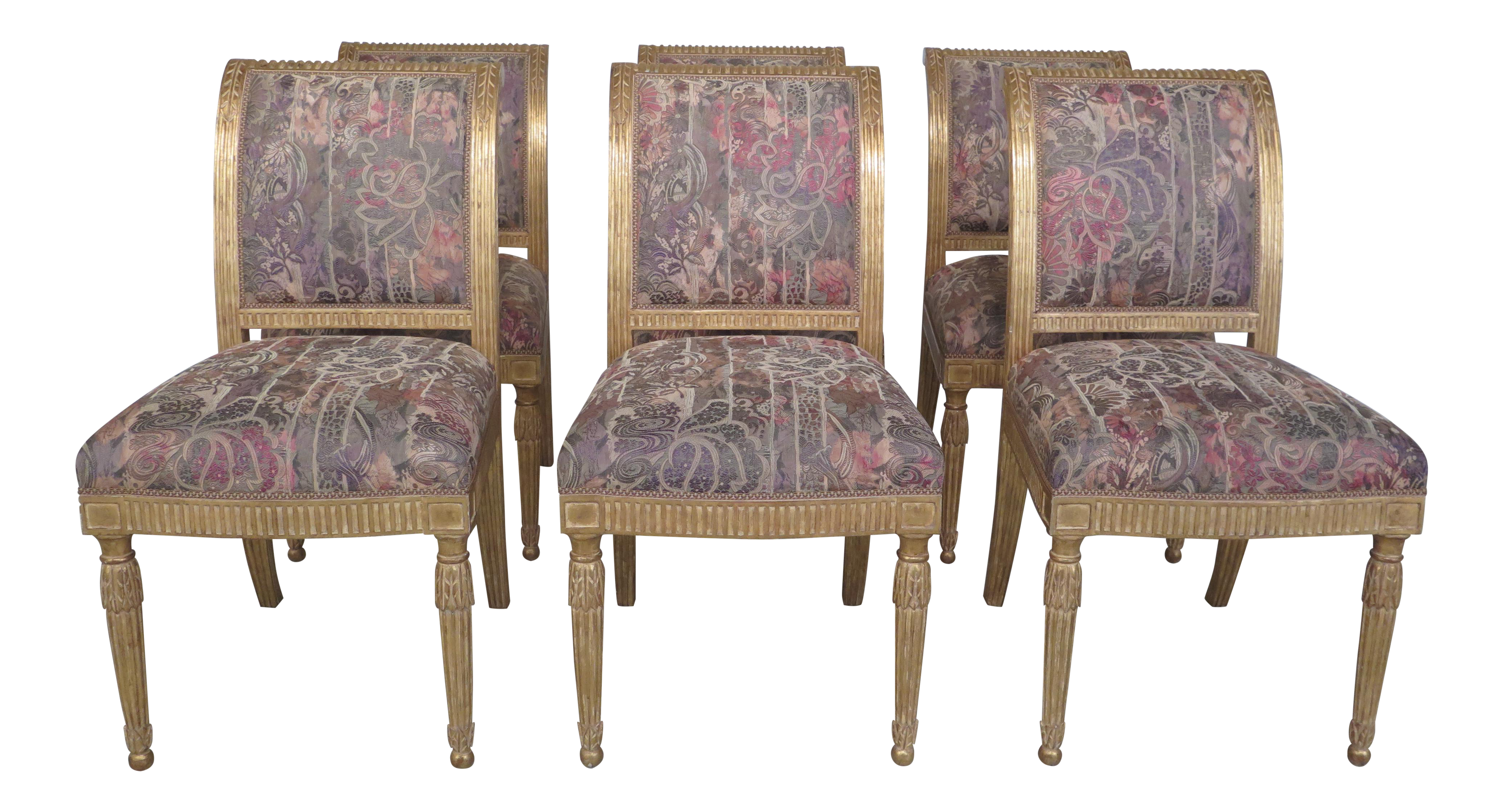 J. Robert Scott French Louis XV Style Gold Decorated Dining Room Chairs    Set Of