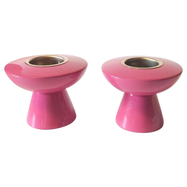 Atomic Lacquer Pink Votive Candlesticks - Pair - Image 1 of 5