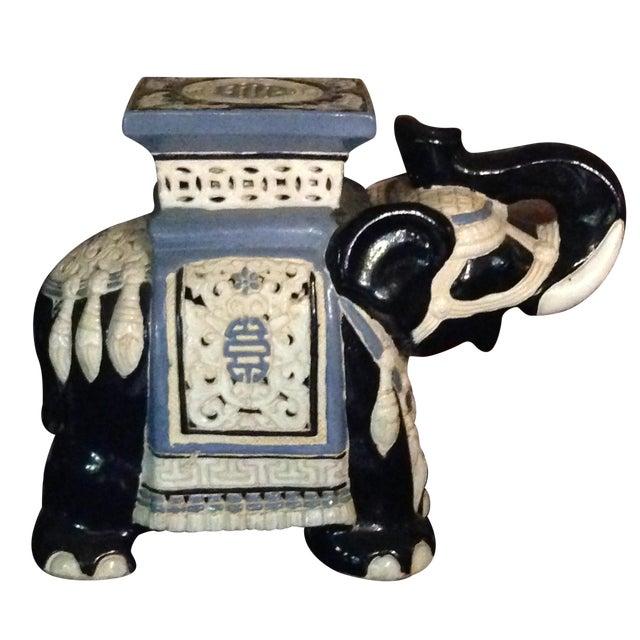 Image of Hand Painted Blue & White Elephant Garden Stool