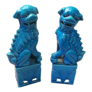 Luscious Turquoise Glazed Fu Dogs - A Pair