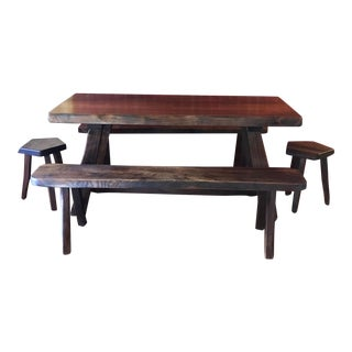 French Vintage Dining Table, Bench & Stool Set