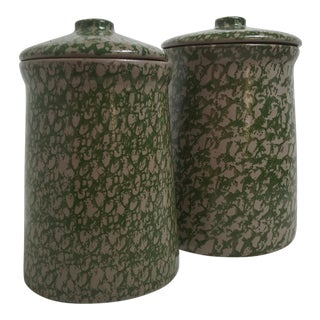 Pottery Spongeware Canisters - A Pair