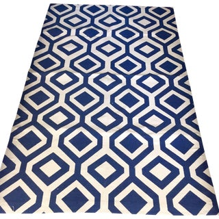 "Blue & White Geometric Turkish Rug - 5'4"" X 3'5"""